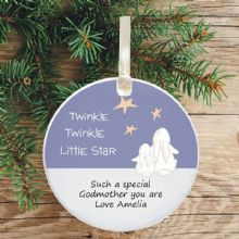 Ceramic Godmother/Godfather Keepsake Christmas Decoration - Twinkle Star Design